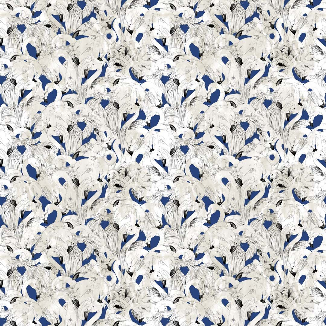 17 Patterns Flamingo Navy Wallpaper - Product code: A08-FM-04W