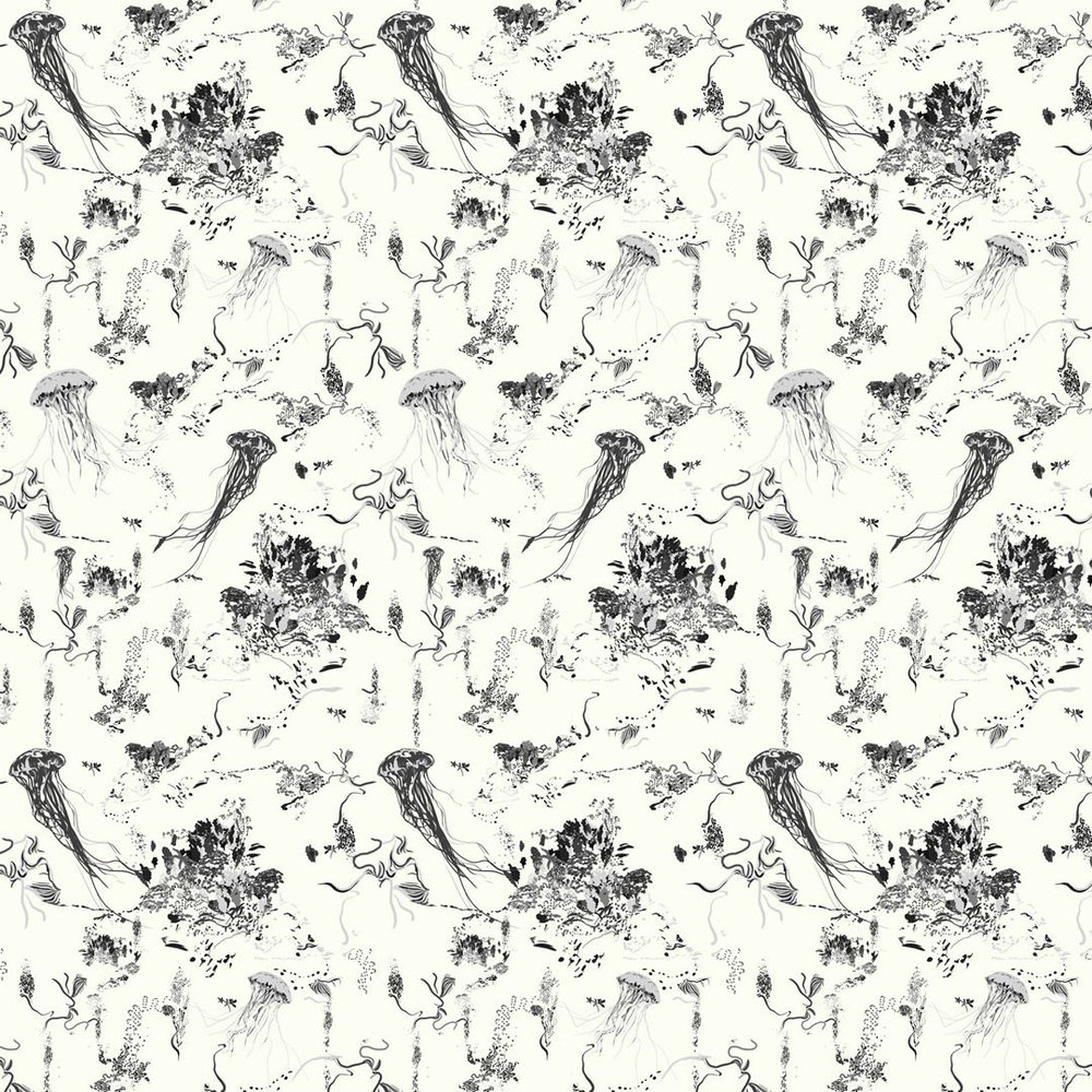 Jellyfish Wallpaper - Ivory - by 17 Patterns
