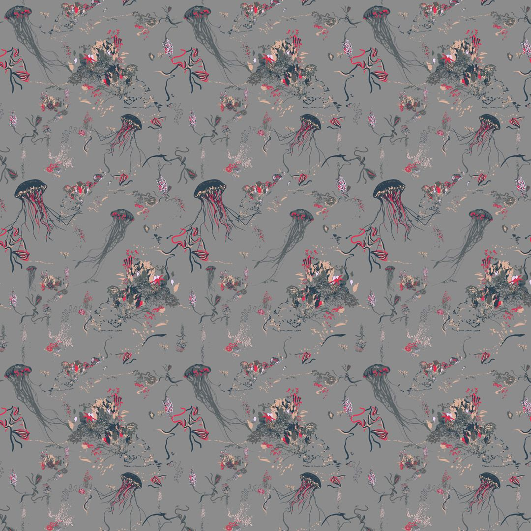 Jellyfish Wallpaper - Grey - by 17 Patterns