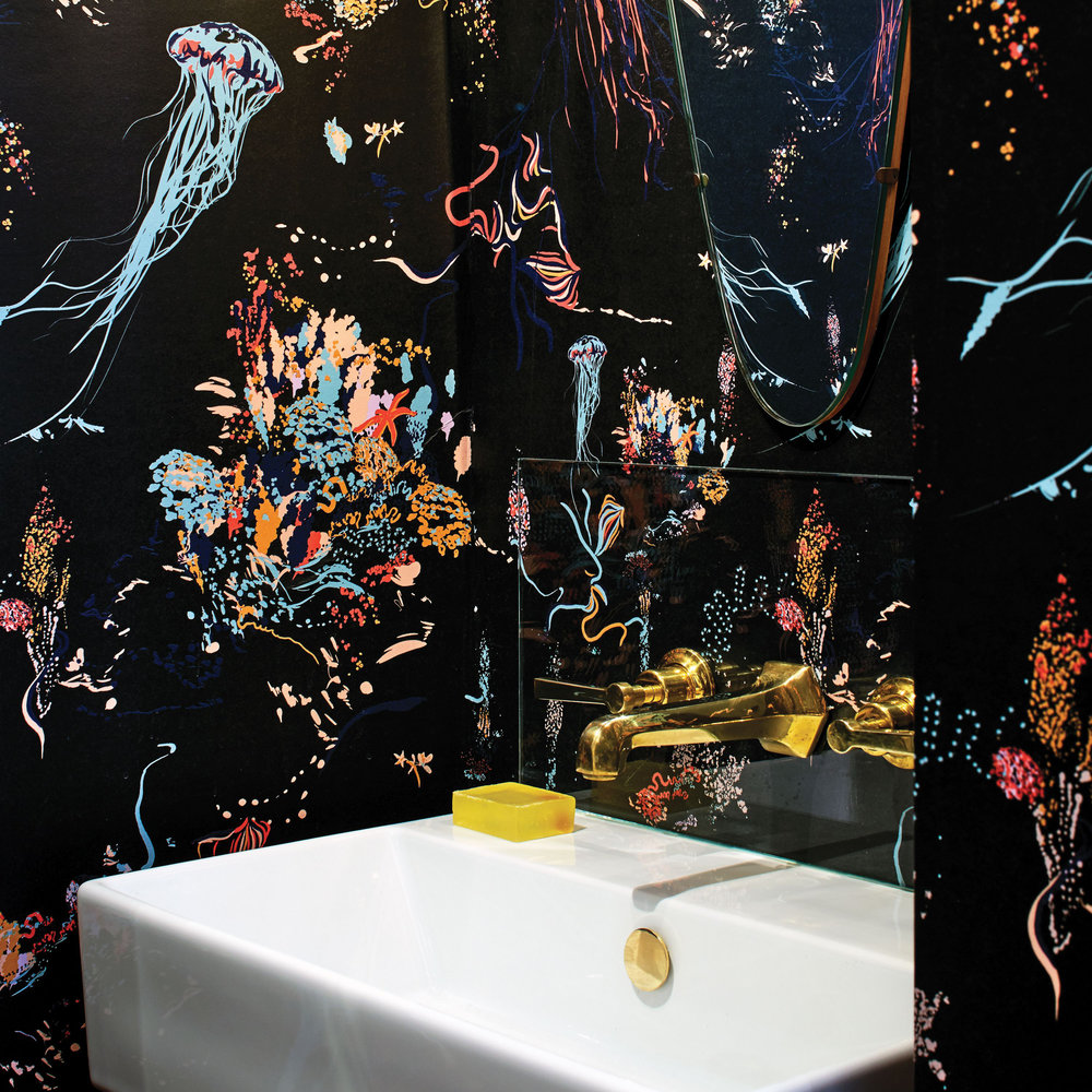 17 Patterns Jellyfish Black Wallpaper - Product code: A01-JF-04W