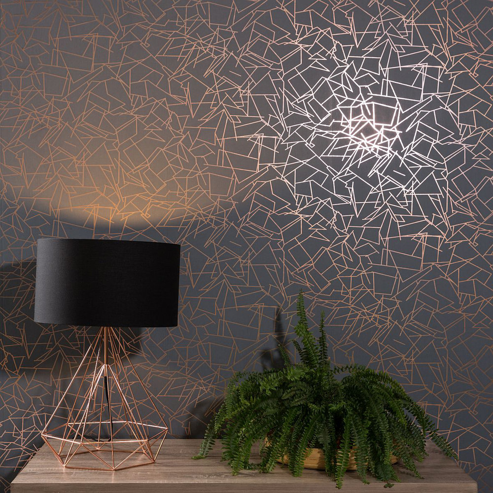 Erica Wakerly Angles Copper Rose / Lead Grey Wallpaper - Product code: ANG LEAD
