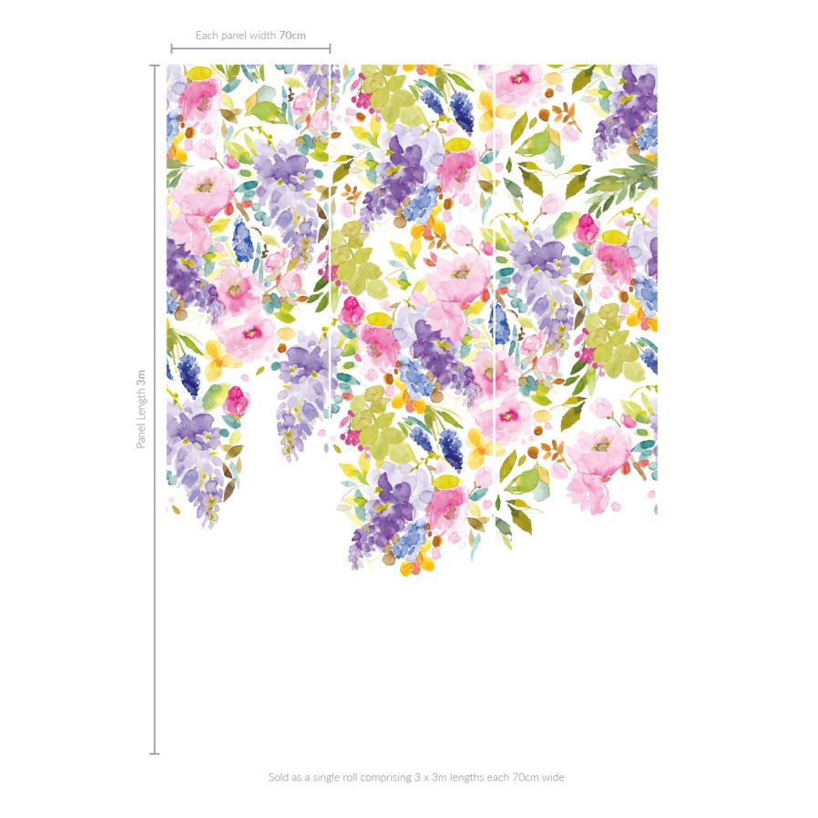 Wisteria Garden (Set of 3 Panels) Mural - Multi - by bluebellgray
