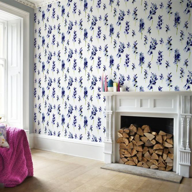 Delphinium Wallpaper - Blue and White - by bluebellgray
