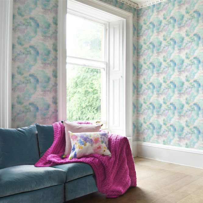 bluebellgray Impressionist Blue and Turquiose Wallpaper - Product code: WL013