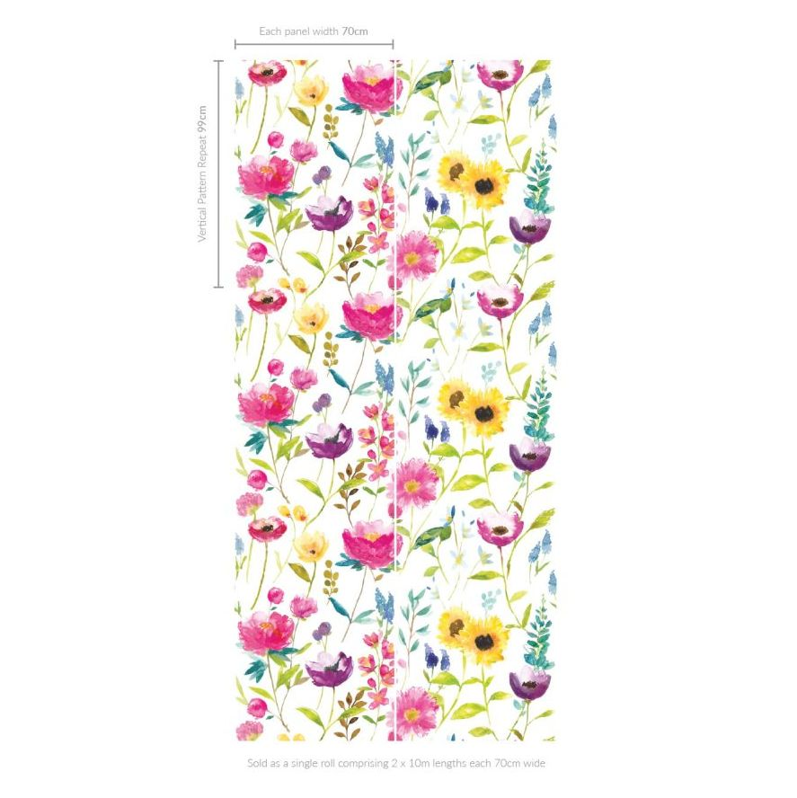bluebellgray Flower Field (Set of 2 Rolls) Multi Wallpaper - Product code: WL009