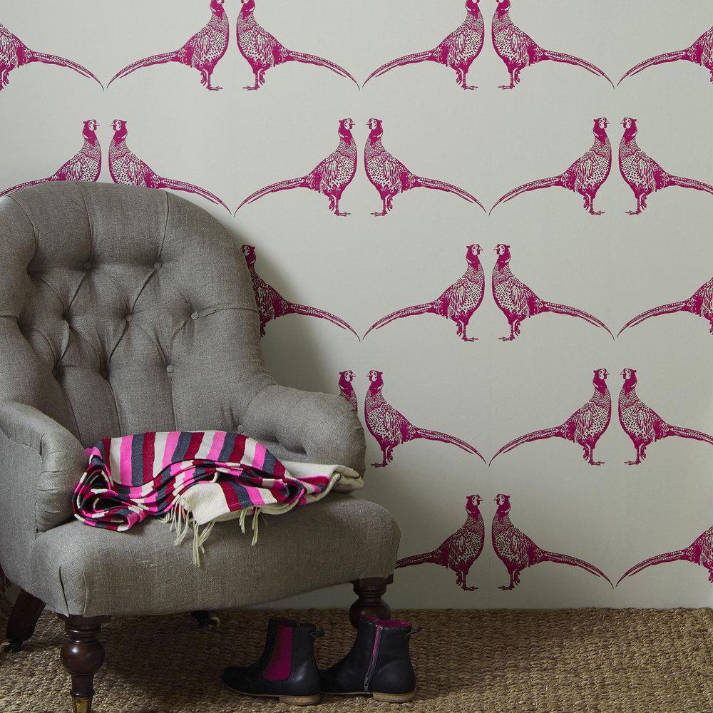 Pheasant Wallpaper - Pink - by Barneby Gates