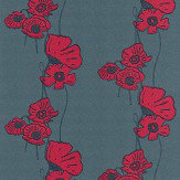 Barneby Gates Poppy Fields Red on Gunmetal Wallpaper