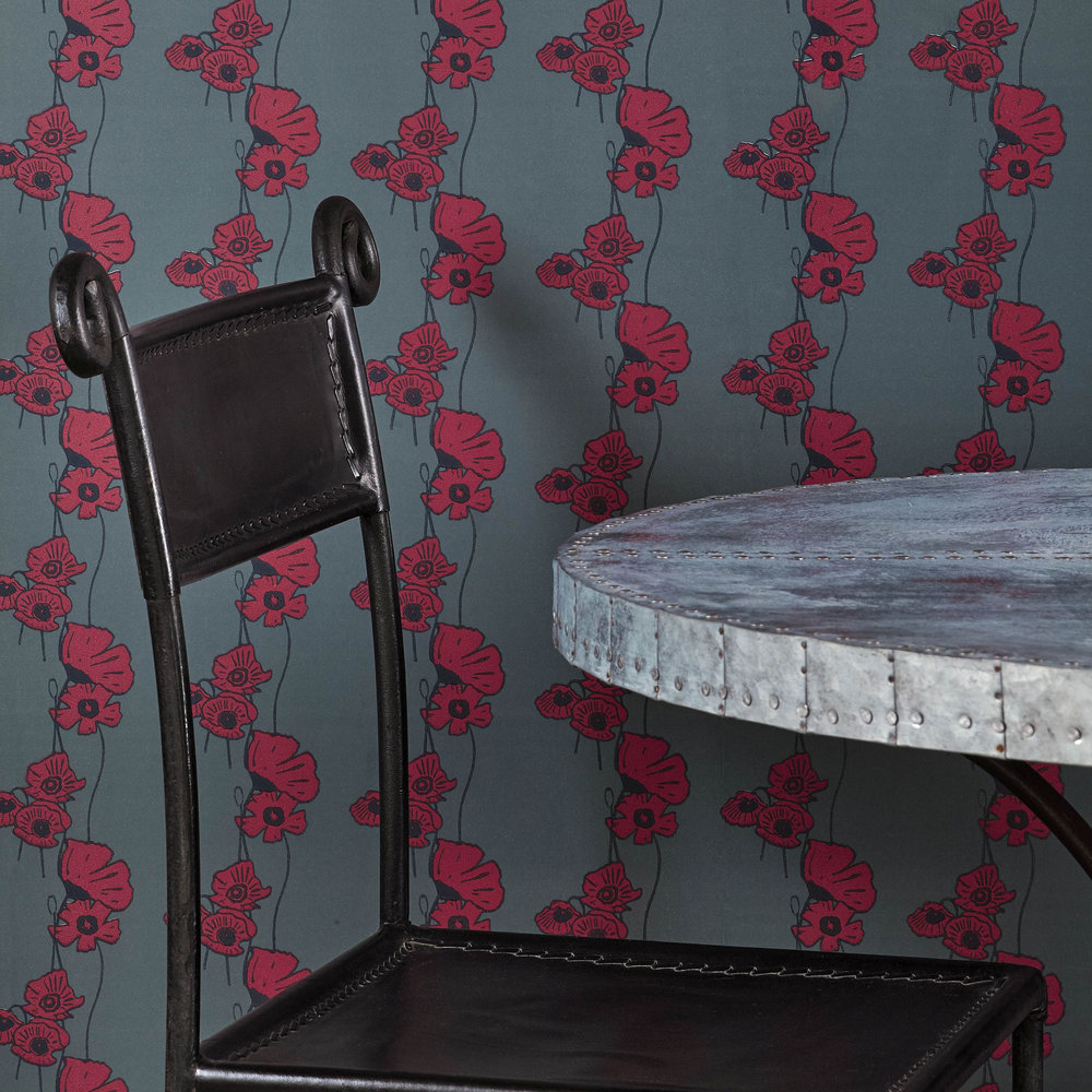 Poppy Fields Wallpaper - Red on Gunmetal - by Barneby Gates