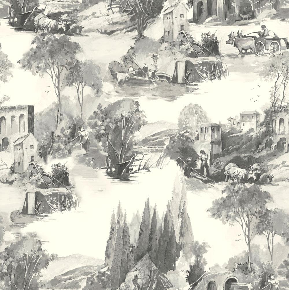 Clarke & Clarke Anastacia Charcoal Wallpaper - Product code: W0080/01