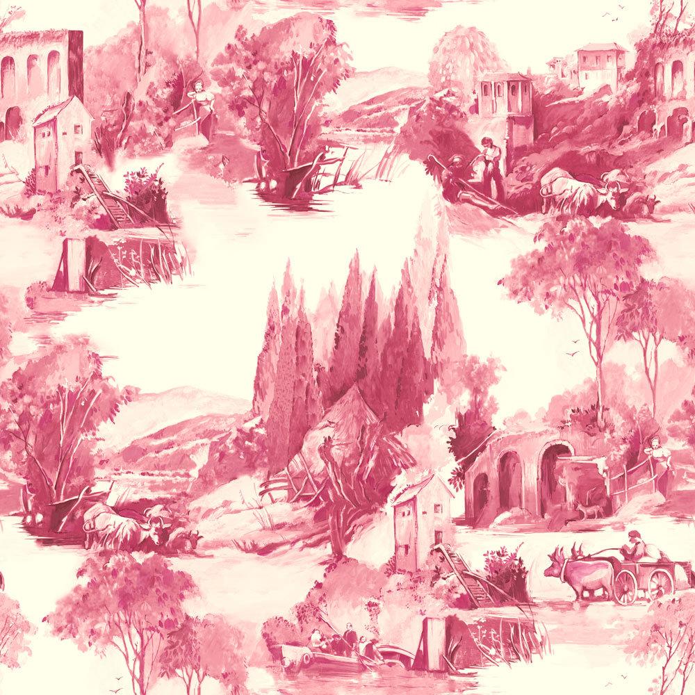 Clarke & Clarke Anastacia Raspberry Wallpaper main image