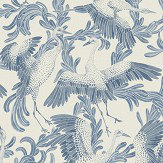 Eco Wallpaper Dancing Cranes Blue Wallpaper