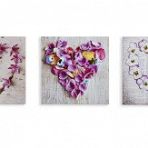 Arthouse Pansy Floral Hearts Set of 3 Pink