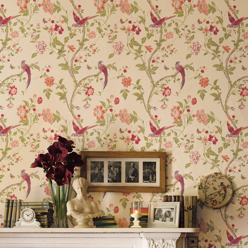 Laura Ashley Summer Palace Cranberry Wallpaper Extra Image