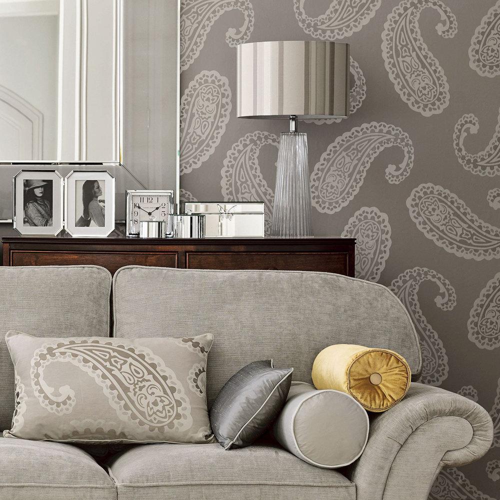 Emperor Paisley By Laura Ashley Dove Grey Wallpaper Direct