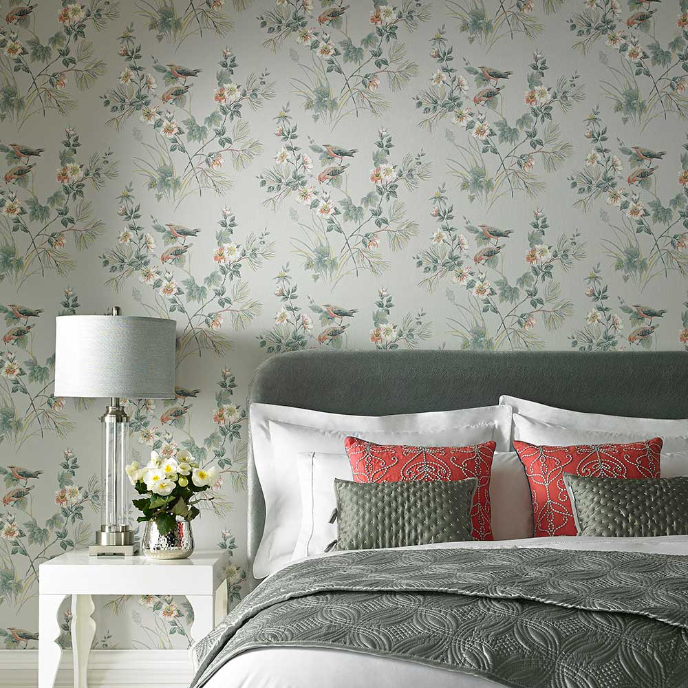 Rosemore Wallpaper - Grey - by 1838 Wallcoverings
