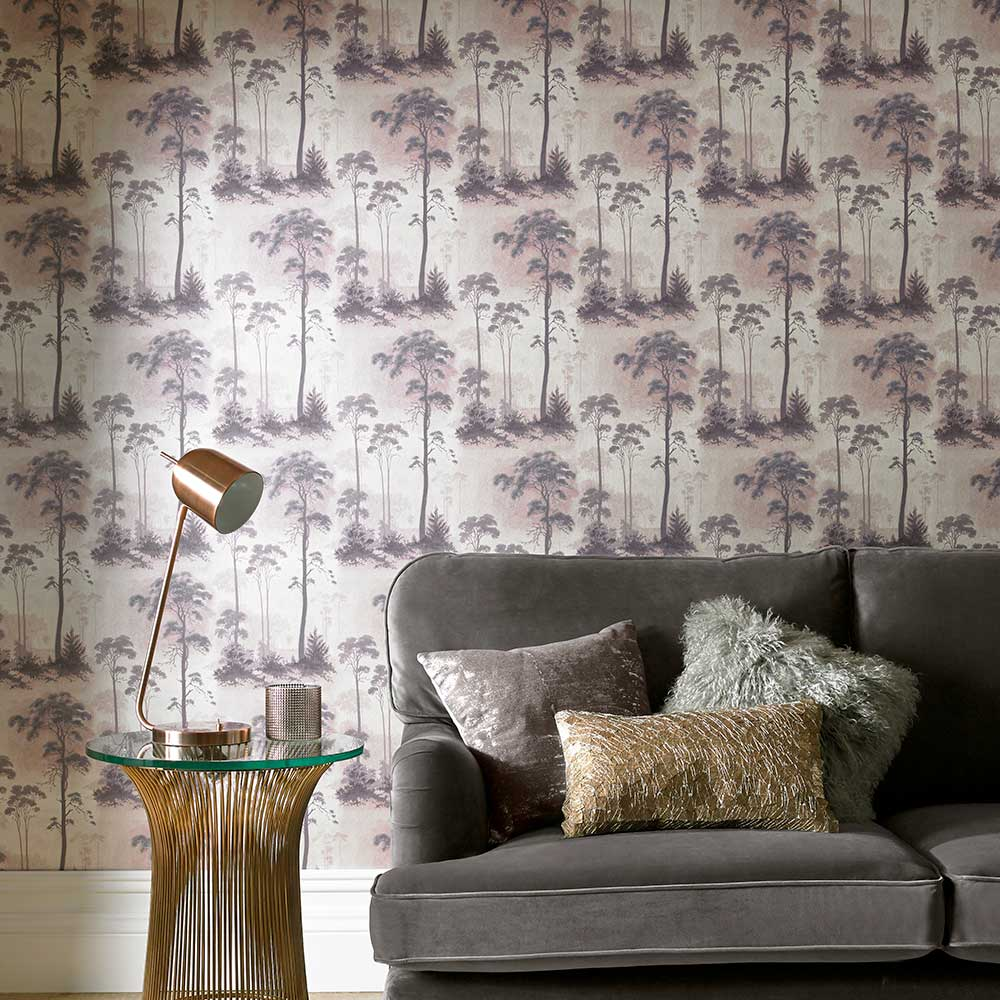 Prior Park Wallpaper - Grey / Blush - by 1838 Wallcoverings