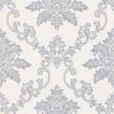1838 Wallcoverings Hampton Silver / White Wallpaper