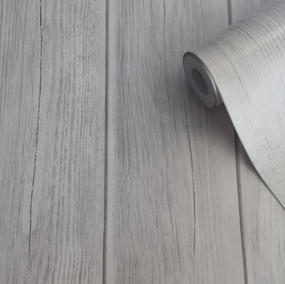 Metallic Wood Wallpaper - Silver - by Lipsy London