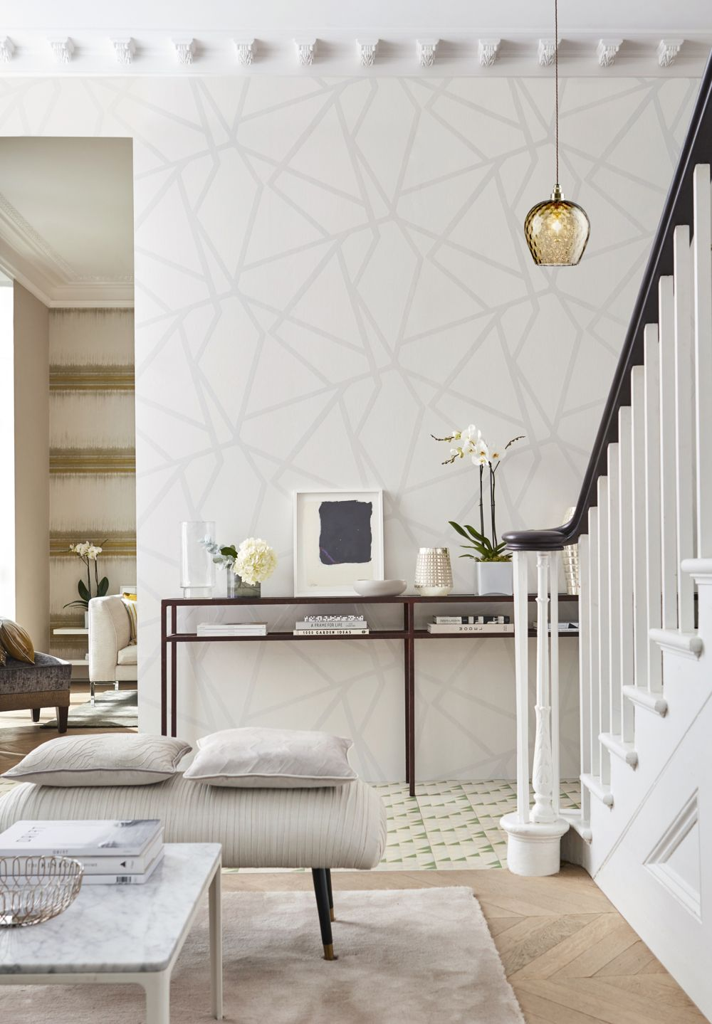 Sumi Beaded Wallpaper - Porcelain - by Harlequin