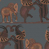 Cole & Son Safari Dance Charcoal / Red Wallpaper - Product code: 109/8040