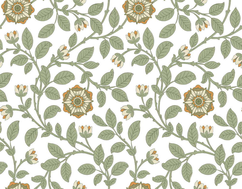 Little Greene Richmond Green Guinevere Wallpaper main image