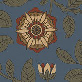 Little Greene Richmond Green Revival Blue Wallpaper