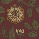 Little Greene Richmond Green Revival Red Wallpaper