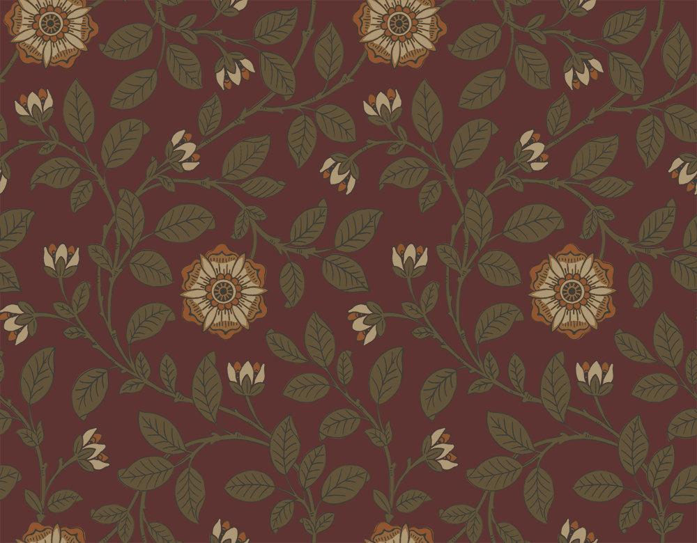 Little Greene Richmond Green Revival Red Wallpaper - Product code: 0251RGREVIR