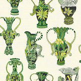 Cole & Son Khulu Vases Green and White  Wallpaper