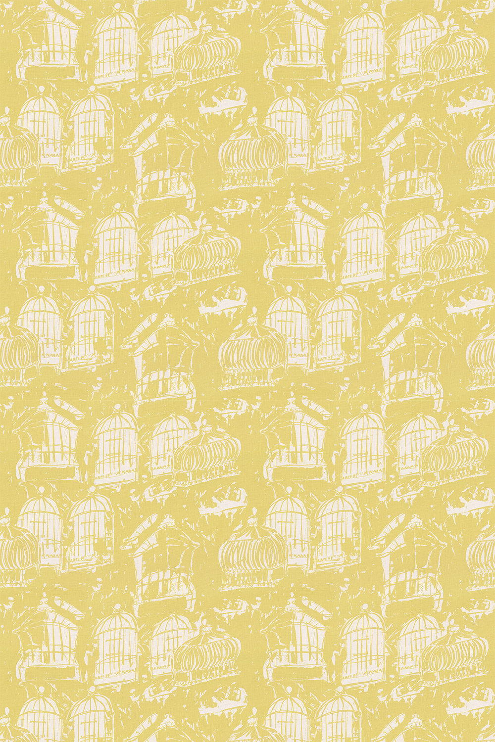 Belynda Sharples Linen Union Birdcage 02 Yellow Fabric - Product code: BS-LU-BC-02