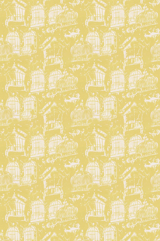 Linen Union Birdcage 02 Fabric - Yellow - by Belynda Sharples
