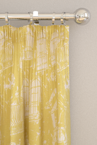 Belynda Sharples Linen Union Birdcage 02 Yellow Curtains - Product code: BS-LU-BC-02