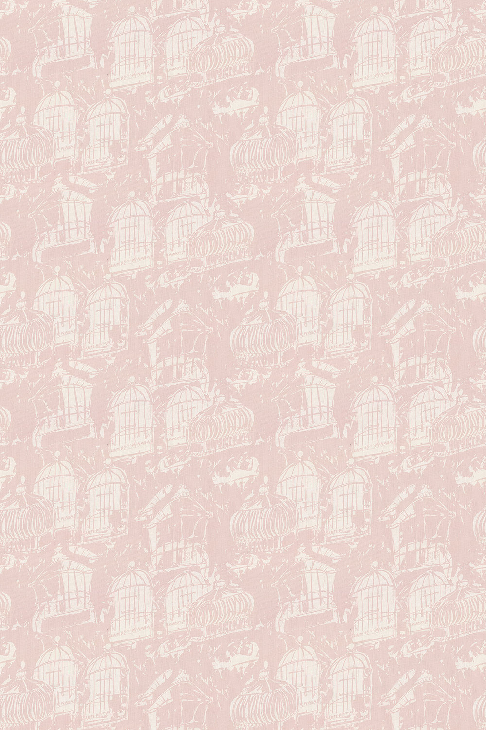 Linen Union Birdcage 03 Fabric - Pink - by Belynda Sharples