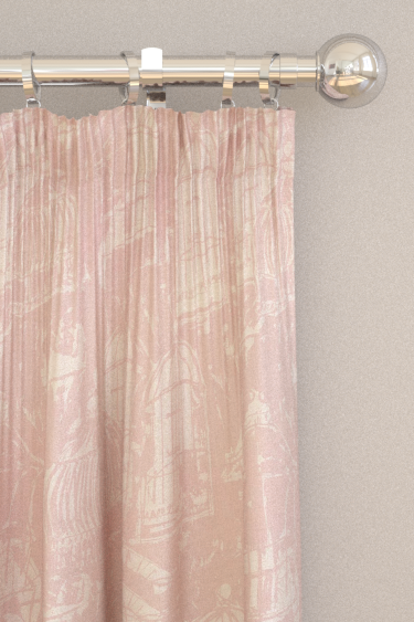 Belynda Sharples Linen Union Birdcage 03 Pink Curtains - Product code: BS-LU-BC-03