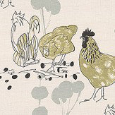 Belynda Sharples Linen Union Chicken 01 Aqua / Green Fabric - Product code: BS-LU-CHI-01