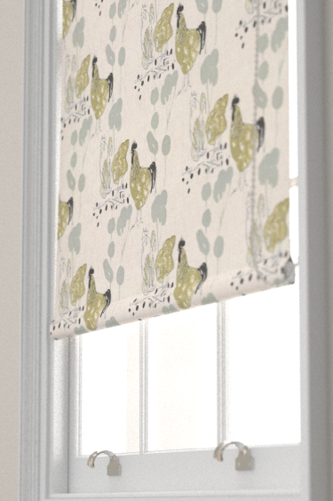 Belynda Sharples Linen Union Chicken 01 Aqua / Green Blind - Product code: BS-LU-CHI-01