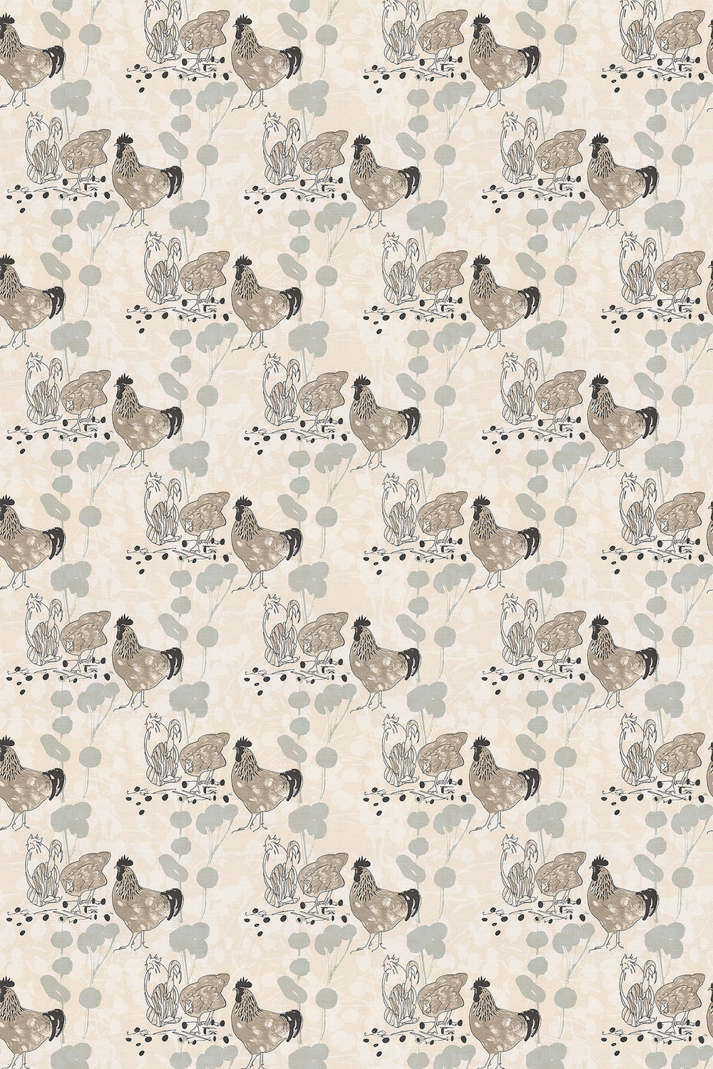 Belynda Sharples Linen Union Chicken 02 Neutral Fabric - Product code: BS-LU-CHI-02