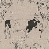 Belynda Sharples Countryside Toile 02 Black / Linen Fabric - Product code: BS-LU-COU-02
