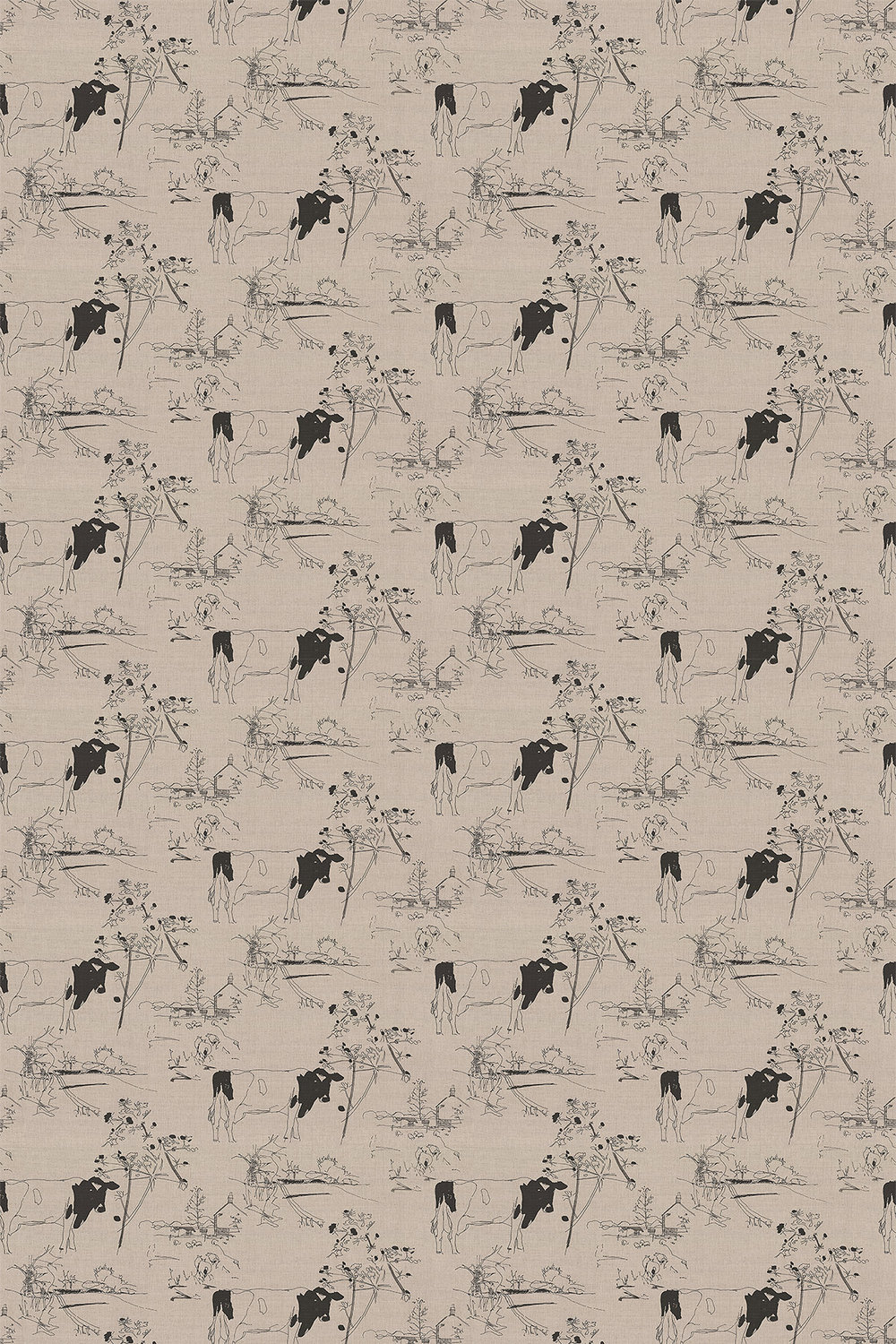 Countryside Toile 02 Fabric - Black / Linen - by Belynda Sharples
