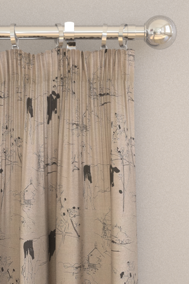 Belynda Sharples Countryside Toile 02 Black / Linen Curtains - Product code: BS-LU-COU-02