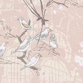 Belynda Sharples Linen Union Finches 01 Pink Fabric