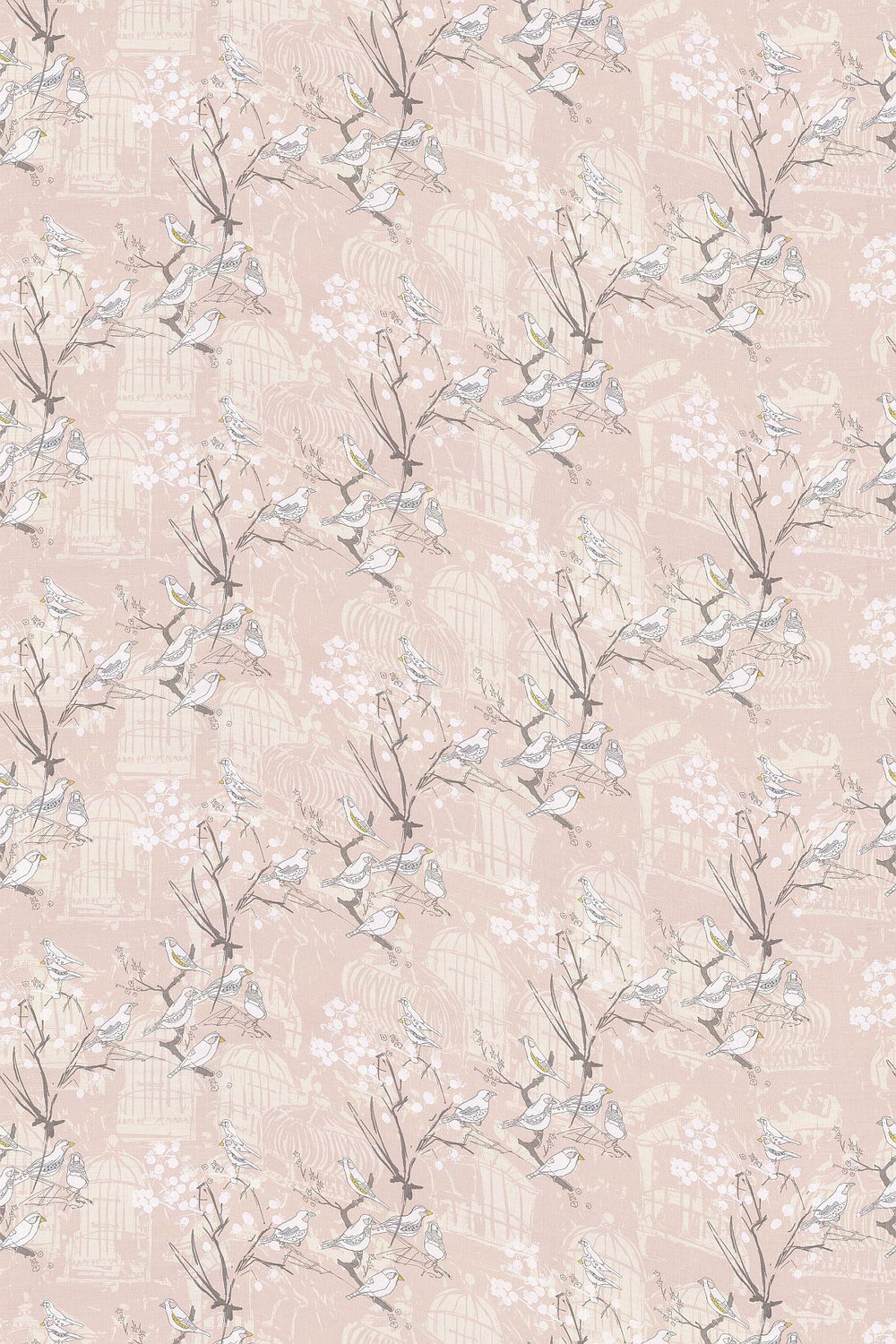 Belynda Sharples Linen Union Finches 01 Pink Fabric - Product code: BS-LU-FIN-01
