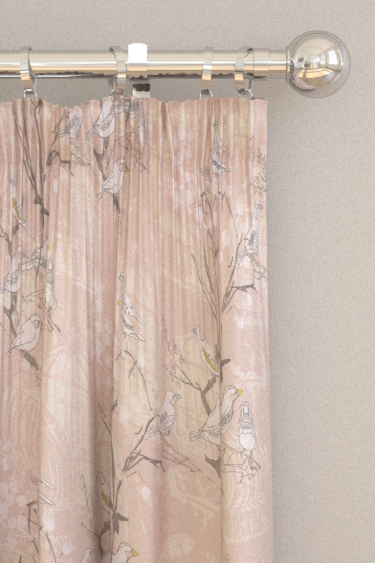 Belynda Sharples Linen Union Finches 01 Pink Curtains - Product code: BS-LU-FIN-01