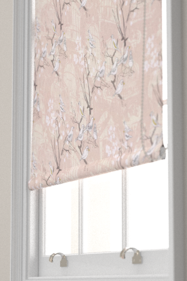 Belynda Sharples Linen Union Finches 01 Pink Blind - Product code: BS-LU-FIN-01