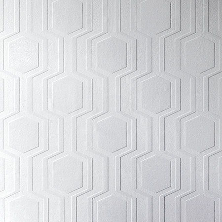Anaglypta Geo Paintable White Wallpaper