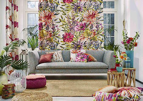 Harlequin Floreale Fuchsia, Heather & Lime Fabric