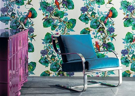 Osborne & Little Rain Forest Emerald / Ruby Wallpaper