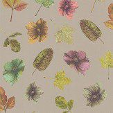 Osborne & Little Woodland Lime / Russet / Plum / Gilver Wallpaper - Product code: W7020/01