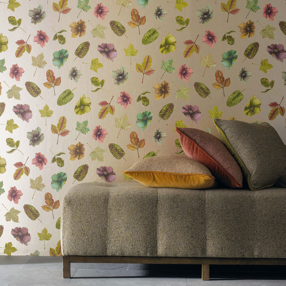 Woodland Wallpaper - Lime / Russet / Plum / Gilver - by Osborne & Little