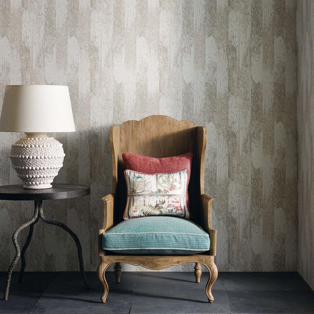 Driftwood Wallpaper - White / Stone - by Osborne & Little